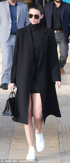 Chic yet comfy: Kendall Jenner, 20, stepped out recently rocking a dress with slip-on sneakers