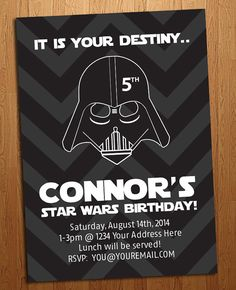 Hey, I found this really awesome Etsy listing at https://www.etsy.com/listing/164660192/star-wars-birthday-party-invitation