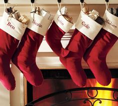 red christmas stocking holder decorating ideas