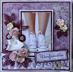 Heidi`s roteloft: Dåpskake og fire konfirmasjonskort Confirmation Cards, Homemade Cards, Scrapbooking, Stamp, Bows, Inspiration, Cards, Flowers, Communion