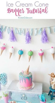 Birthday Party : Ice Cream Cone Banner Tutorial. For an ice cream themed birthday party! www.Capt... https://askbirthday.com/2018/05/16/birthday-party-ice-cream-cone-banner-tutorial-for-an-ice-cream-themed-birthday-party-www-capt/