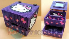 Hello Kitty jewelry box hama perler beads by Perler Bead Designs, Pearler Bead Patterns, Diy Perler Beads, Perler Bead Art, Perler Patterns, Hamma Beads 3d, Pearler Beads, Fuse Beads, Hello Kitty