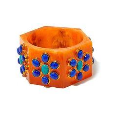 "BAJALIA ""Urja"" Multicolor Stone Orange Resin Hexagonal Bangle Bracelet ($140) ❤ liked on Polyvore featuring jewelry, bracelets, bangle bracelet, bracelets & bangles, resin bangle bracelet, womens jewellery and colorful jewelry"