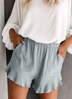 Ruffle Shorts, Linen Shorts, Cotton Shorts, Mode Outfits, Short Outfits, Spring Outfits, Ruffles, Moda Boho, Bass