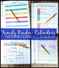 Free Family Binder--4 Printable Helpful Calendars, and many more great printables!