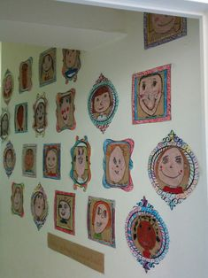 Self-portrait gallery - To create this self-portrait gallery, I was inspired by a cool idea found here. These drawings were - Art Lessons For Kids, Art Lessons Elementary, Art For Kids, Art Education Lessons, Art Children, Elementary Schools, Kindergarden Art, Arte Elemental, Self Portrait Art