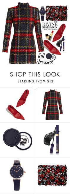 """""""Fall in love"""" by puljarevic ❤ liked on Polyvore featuring Balmain, Estée Lauder, Emporio Armani, Oscar de la Renta, Vera Wang, Tom Ford, red, Blue, fashiontrend and RedLove"""