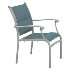 Tropitone Sorrento Stacking Patio Dining Chair Finish: Parchment, Fabric: Sparkling Water
