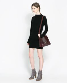 ZARA - WOMAN - HIGH NECK DRESS.  women's fashion and street style.  love the 60's vibe of this dress, but with the modern details.