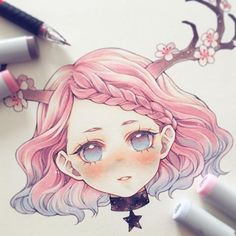 Manga Drawing Design Virgo ♍️ ______ Which zodiac would you like to see next? Copic Drawings, Anime Drawings Sketches, Anime Sketch, Kawaii Drawings, Cute Drawings, Cartoon Drawings, Copic Marker Art, Copic Art, Anime Art Girl