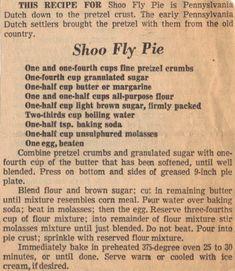 Grandma's Vintage Recipes: SHOO FLY PIE