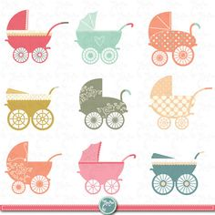 Baby Stroller Clipart BABY CARRIAGE clip art pack by YenzArtHaut, $5.00