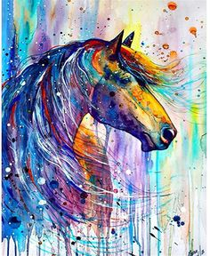 5D Full Square Diamond Painting Kit DIY Drill Picture Art Craft for Home Wall Decor Adults and Kids Horse Hut 30x40cm