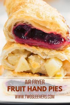 Fruit Hand Pies Air Fryer Recipe Two Sleevers Apple Hand Pies, Fruit Hand Pies, Cherry Hand Pies, Apple Pie, Air Fryer Recipes Dessert, Air Fryer Recipes Breakfast, Air Fryer Oven Recipes, Air Frier Recipes, Air Fried Food