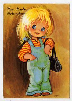 Postcard vintage 70s big eyed girl doll card. by bluumievintage