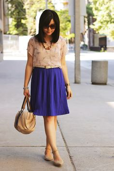 More purple pleated skirt awesomeness. Great paired with a neutral blouse.
