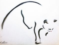 """Kellas Campbell """"Cat in Charcoal Pastel"""""""