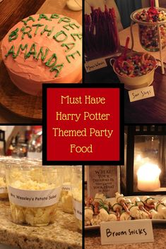 Cosplay Harry Potter Harry Potter party themed food and a lot of other DIY Harry Potter party ideas - Great ideas for Harry Potter themed party or Halloween Decorations! Harry Potter Snacks, Baby Harry Potter, Harry Potter Motto Party, Harry Potter Fiesta, Harry Potter Marathon, Harry Potter Halloween Party, Harry Potter Decor, Harry Potter Christmas, Harry Potter Birthday