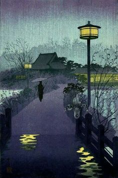 Japanese woodblock print … I love this outdoor lamp. A modern version would be awesome. Japanese Colors, Japanese Prints, Japanese Art, Ueno Park, Rainy Night, Purple Hues, Lilac, Lavender, European Paintings