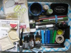 Traveling Art Journal Box - Thismight be more than I would pack, but worth looking through for supply and storage ideas.