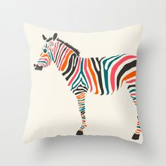 Pillow Cover 16x16 Colourful Zebra pillow case by JazzberryBlue, $28.00