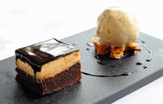 - Chocolate and Peanut Mousse Cake - with Gingerbread Ice Cream -