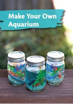 Make this adorable Mason Jar Aquarium with your kids! This small, cute craft is a great boredom buster.