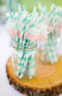 Baxter's Creative Events loves these straws with the pennants. Rustic Handmade Wedding from Katelyn James Photography