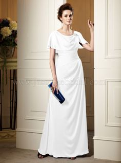 This is a great dress for a mature bride who wants a modest dress and doesn't want a train
