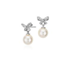 Freshwater Cultured Pearl and Diamond Bow Earrings in 18k White Gold | #Jewelry #Style