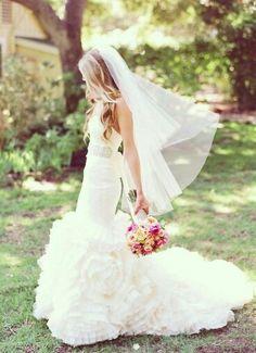 {Beautiful, Two Tier Plain Cut Edge Wedding Veil, Fingertip Length}