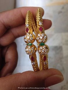 22K gold bangle with white stones