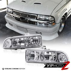 Left+Right Crystal Clear Headlight+Corner Signal Lamp 98-04 Chevy S10 Blazer #VIPMOTOZ