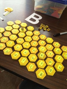 """""""b"""" lesson for preschool bee theme. The bees can only land on the B's! The little bees are from lakeshore store"""