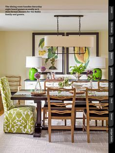 I like this dining table and the mix of upholstered and non-upholstered chairs