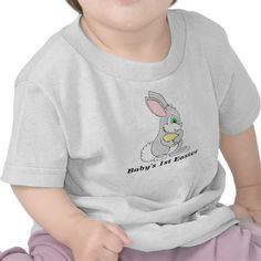 A cute Easter Bunny with an egg for baby's 1st. Easter. Text can be changed to add child's name.