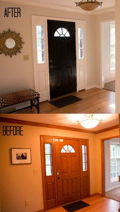 How To Paint Fiberglass Door and Oak Trim Painting Wood Trim, House Painting, Painting Fiberglass Door, Painting A Door, Staircase Painting, Painting Baseboards, Home Renovation, Home Remodeling, Kitchen Renovations