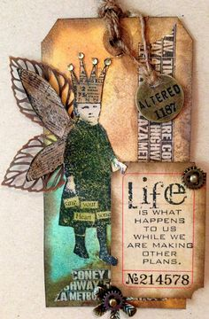 Scrapping On The Edge: Distressed Vintage Life Happens Gift Tags - Tim Holtz Inspired