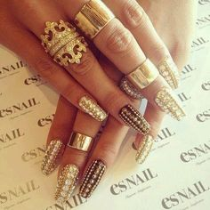 Gold jeweled nails fashion nails jewelry art hands gold rings diamonds crystals bling