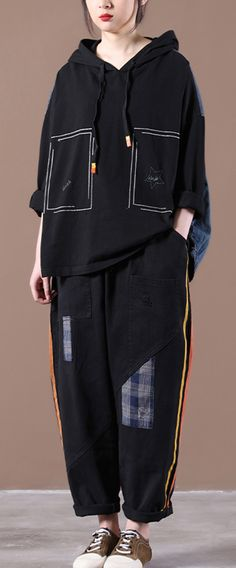 Black Denim StitChing Embroidery Casual Suit Autumn Tops, Kid N Teenagers, Casual Suit, Two Pieces, Black Denim, Long Sleeve Tops, Hooded Jacket, Fashion Inspiration, Stitching