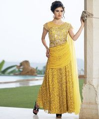 Lemon Yellow Color Georgette Unstitched Designer Gown For Wedding : Pritisha Collection YF-32148