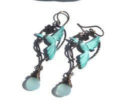 Verdegris Hummingbirds and Aqua Chalcedony by elementsinspired, $17.00-Gorgeous new item!