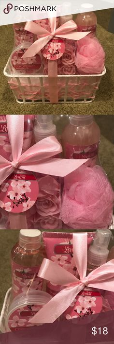 🆕 Cherry Blossom Scented Angel Basket Set Brand new! In original packaging - Cherry Blossom scented: shower gel, bubble bath, body lotion, body mist, bath salts, soap flowers, and pink bath puff. Makeup