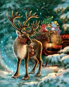 Rudolph,the Red-nosed reindeer, had a very shiny nose. And if you ever saw him, you would even say it glows. All of the other reindeer used to laugh and call him names. They never let poor Rudolph play in any reindeer games. Christmas Scenes, Christmas Deer, Christmas Past, Christmas Animals, Vintage Christmas Cards, Christmas Pictures, Christmas Greetings, Winter Christmas, Christmas Canvas