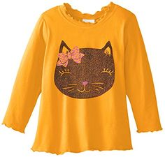 Flap Happy Baby Girls Girls Lettuce Edge Tee With Graphic Glitter Kitty 12 Months