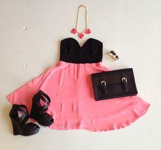 pink black dress #swoonboutique