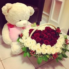 Big teddy and a flower basket ... cute way to start a day or a evening