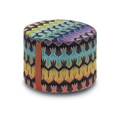 Missoni Home Roing Cylinder Pouf featuring polyvore home furniture ottomans low footstool missoni home colored furniture cylinder ottoman patterned ottoman