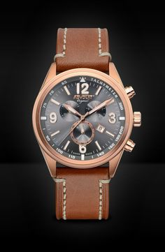 ADVOLAT VOYAGE Swiss Made Chronograph, Tachymeter, Stainless Steel Casing IP rose gold, Face gunmetal sunray, Leather Bracelet saddle leather, Ref. 88006/8RG-SL5 Rolex Watches, Watches For Men, Gold Face, Limited Edition Watches, Saddle Leather, Watches Online, Stainless Steel Case, Chronograph, Omega Watch