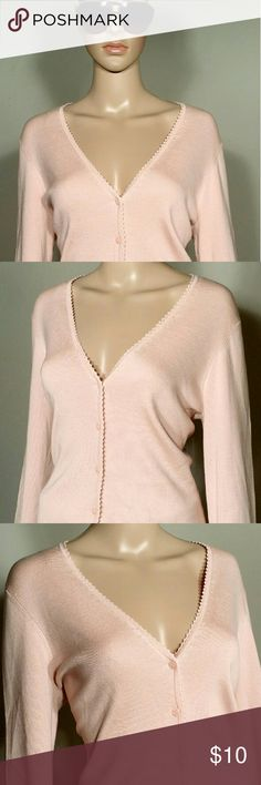 Ann Taylor Womens Pink Button Cardigan Size L LARGE - 75% Silk 25% Cotton Hand Wash Cold Only!! In very good condition!! Very adorable!! Fast Shipping!! Ann Taylor Sweaters Cardigans